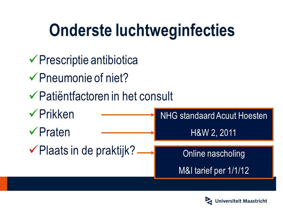 Onderste luchtweginfecties Prescriptie antibiotica Pneumonie of niet.