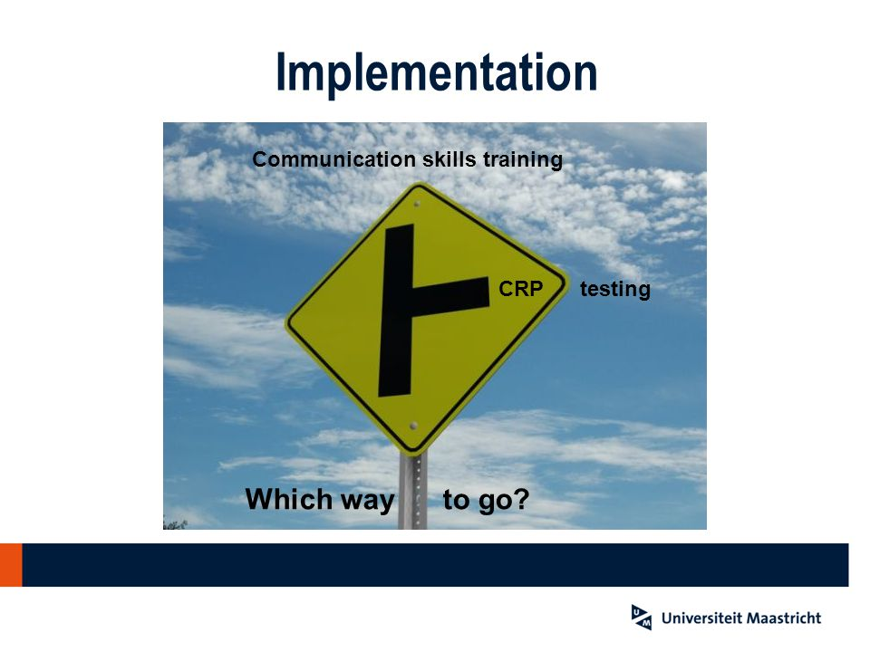 CRP testing Communication skills training Which way to go? Implementation