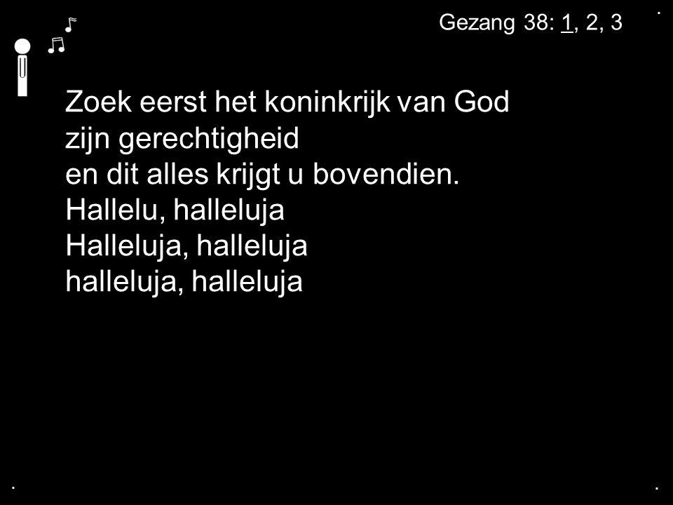 .... Gezang 38: 1, 2, 3 Zoek eerst het koninkrijk van God zijn gerechtigheid en dit alles krijgt u bovendien. Hallelu, halleluja Halleluja, halleluja