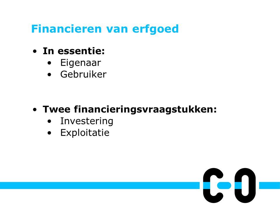 Financieren van erfgoed In essentie: Eigenaar Gebruiker Twee financieringsvraagstukken: Investering Exploitatie