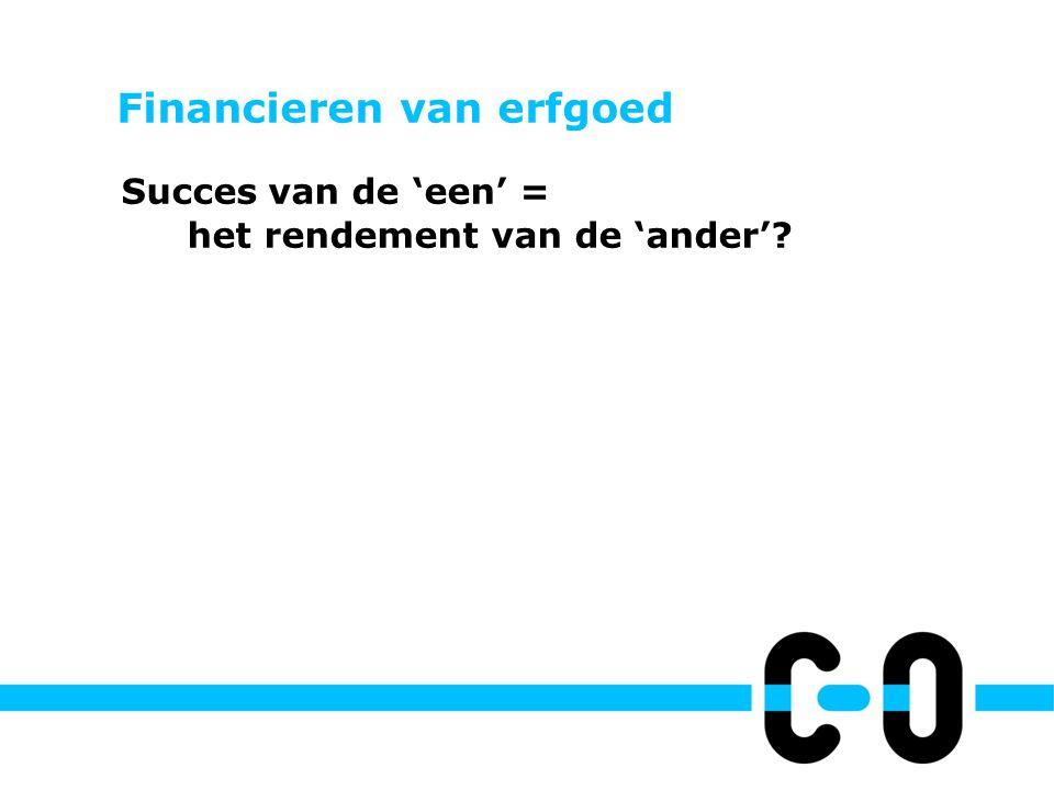 Financieren van erfgoed Succes van de 'een' = het rendement van de 'ander'.