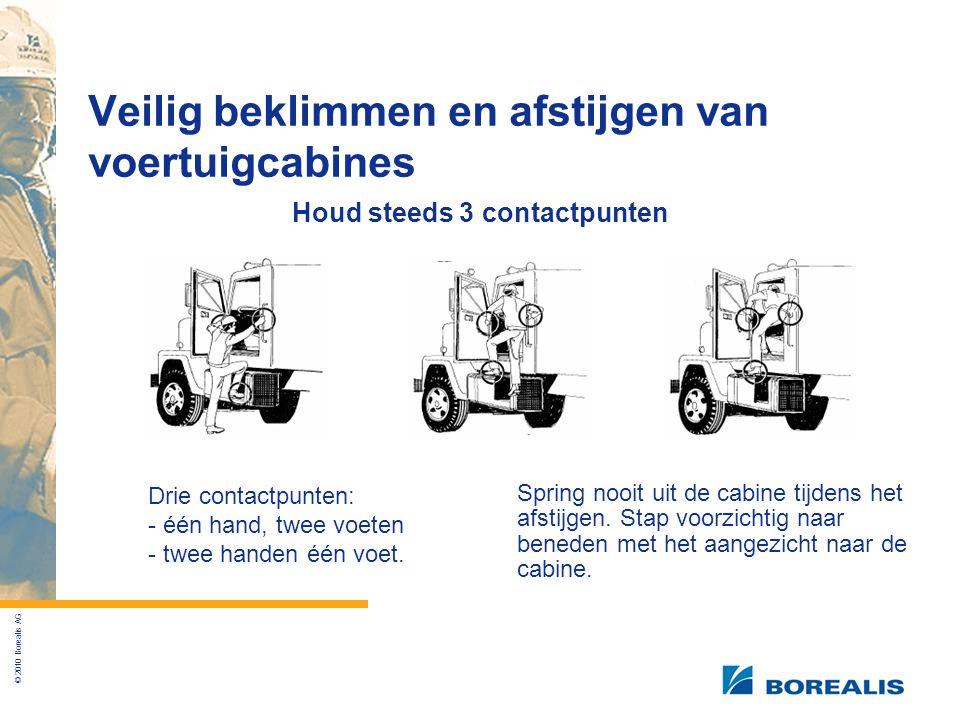 © 2010 Borealis AG Veilig beklimmen en afstijgen van voertuigcabines Houd steeds 3 contactpunten Drie contactpunten: - één hand, twee voeten - twee handen één voet.