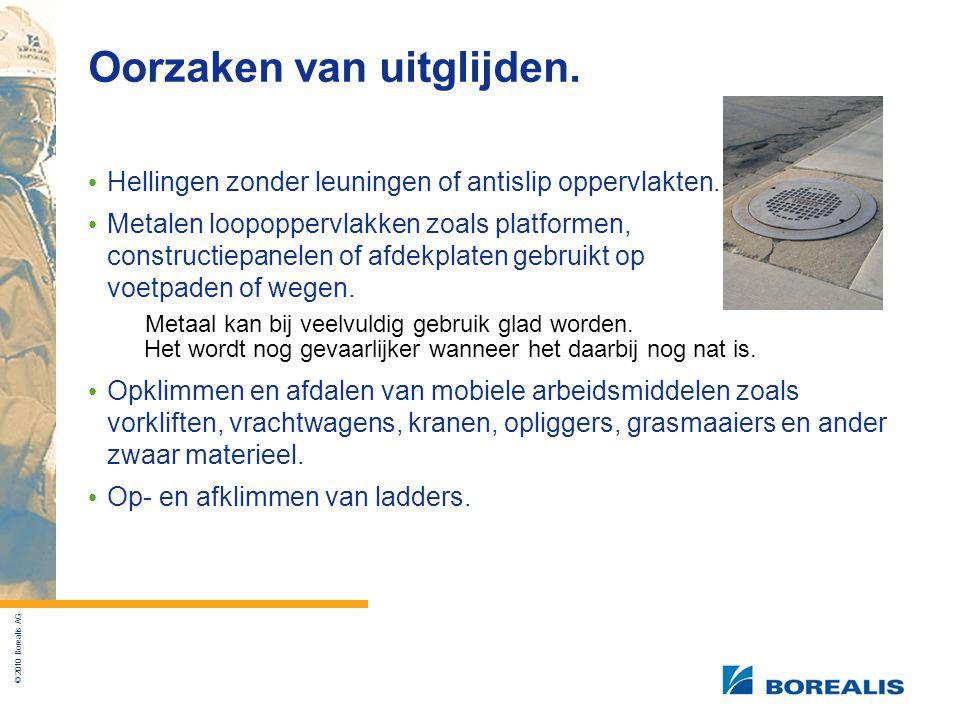 © 2010 Borealis AG Oorzaken van uitglijden.Hellingen zonder leuningen of antislip oppervlakten.
