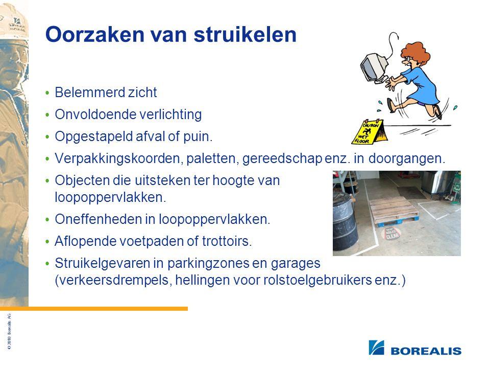 © 2010 Borealis AG Oorzaken van struikelen Belemmerd zicht Onvoldoende verlichting Opgestapeld afval of puin.