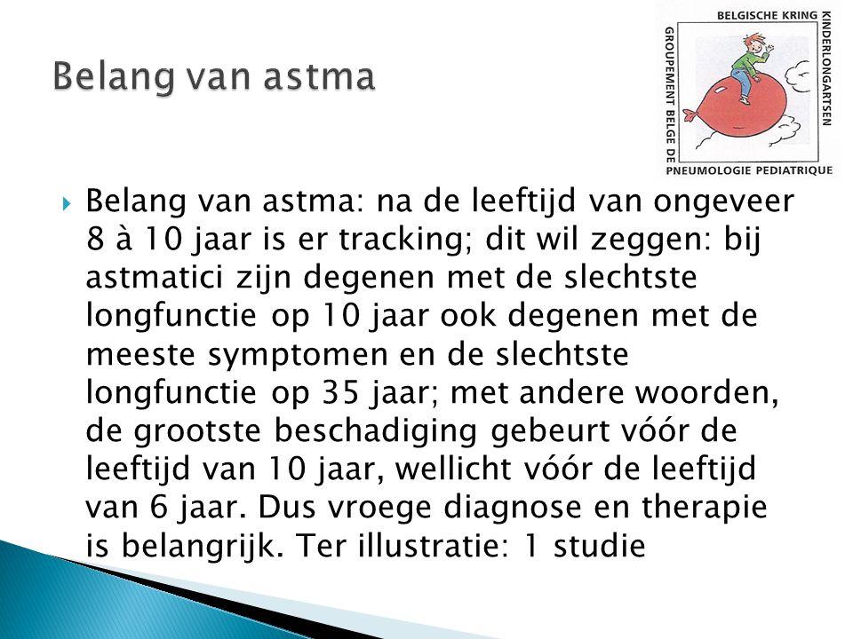  Belang van astma: na de leeftijd van ongeveer 8 à 10 jaar is er tracking; dit wil zeggen: bij astmatici zijn degenen met de slechtste longfunctie op