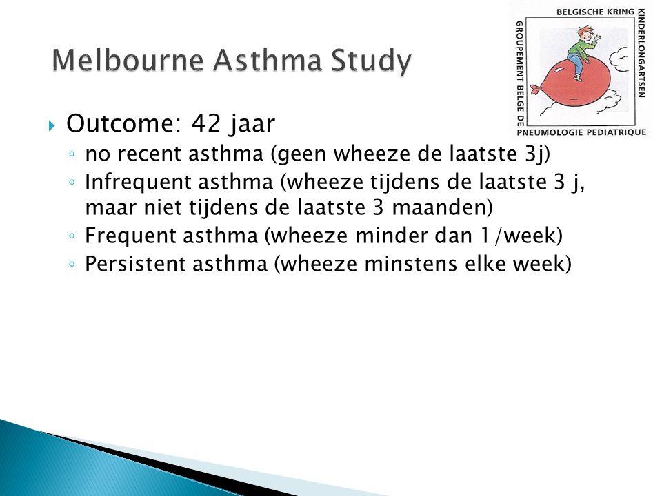  Outcome: 42 jaar ◦ no recent asthma (geen wheeze de laatste 3j) ◦ Infrequent asthma (wheeze tijdens de laatste 3 j, maar niet tijdens de laatste 3 m