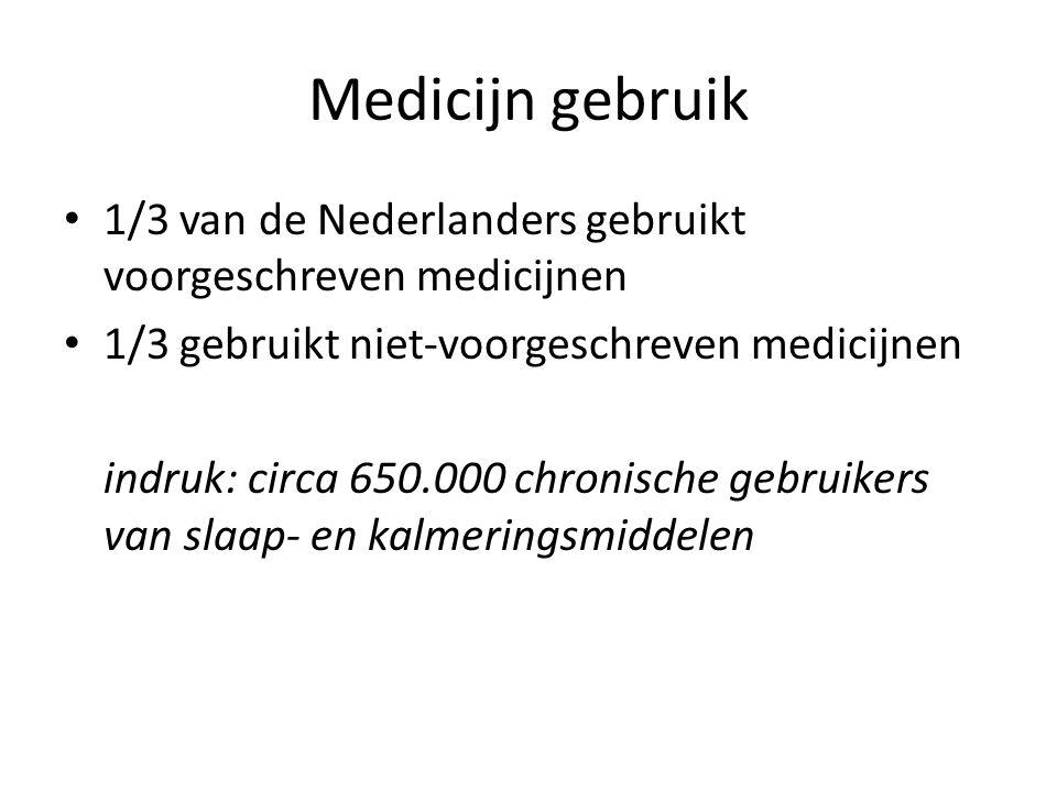 Medicijn gebruik 1/3 van de Nederlanders gebruikt voorgeschreven medicijnen 1/3 gebruikt niet-voorgeschreven medicijnen indruk: circa 650.000 chronische gebruikers van slaap- en kalmeringsmiddelen