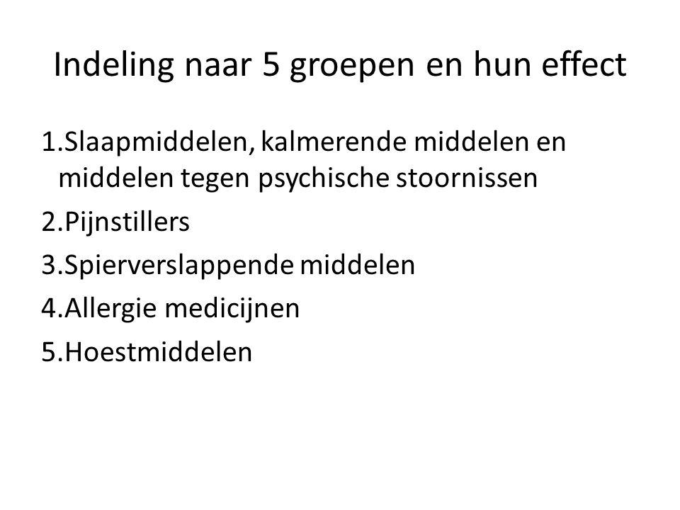 Indeling naar 5 groepen en hun effect 1.Slaapmiddelen, kalmerende middelen en middelen tegen psychische stoornissen 2.Pijnstillers 3.Spierverslappende middelen 4.Allergie medicijnen 5.Hoestmiddelen