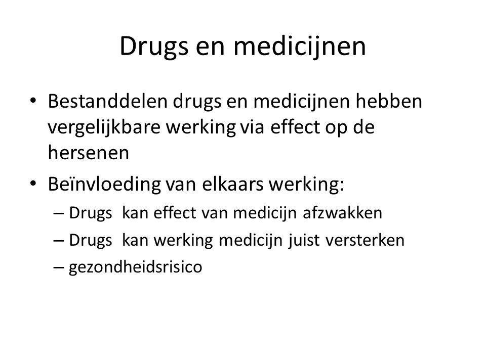 Drugs en medicijnen Bestanddelen drugs en medicijnen hebben vergelijkbare werking via effect op de hersenen Beïnvloeding van elkaars werking: – Drugs