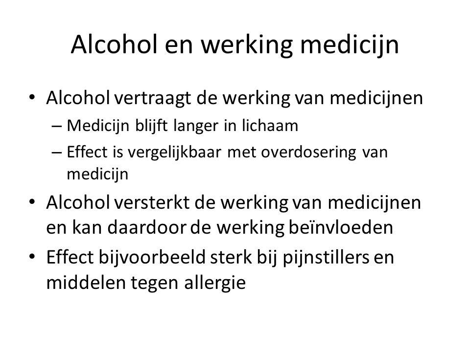 Alcohol en werking medicijn Alcohol vertraagt de werking van medicijnen – Medicijn blijft langer in lichaam – Effect is vergelijkbaar met overdosering van medicijn Alcohol versterkt de werking van medicijnen en kan daardoor de werking beïnvloeden Effect bijvoorbeeld sterk bij pijnstillers en middelen tegen allergie