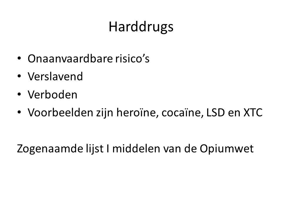 Harddrugs Onaanvaardbare risico's Verslavend Verboden Voorbeelden zijn heroïne, cocaïne, LSD en XTC Zogenaamde lijst I middelen van de Opiumwet