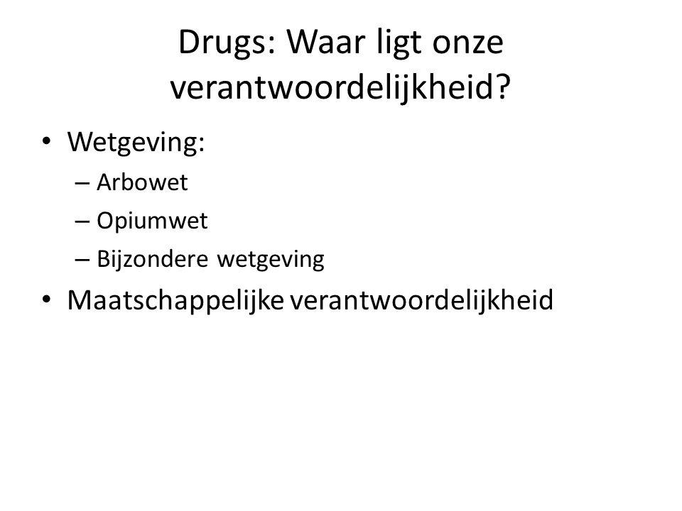 Drugs: Waar ligt onze verantwoordelijkheid? Wetgeving: – Arbowet – Opiumwet – Bijzondere wetgeving Maatschappelijke verantwoordelijkheid