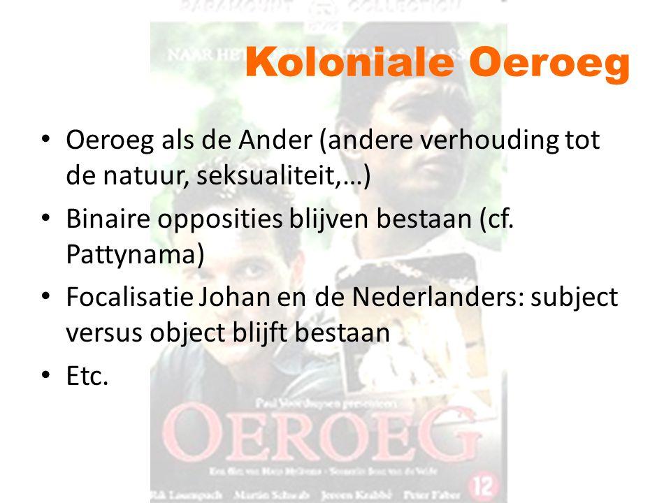 Koloniale Oeroeg Oeroeg als de Ander (andere verhouding tot de natuur, seksualiteit,…) Binaire opposities blijven bestaan (cf. Pattynama) Focalisatie