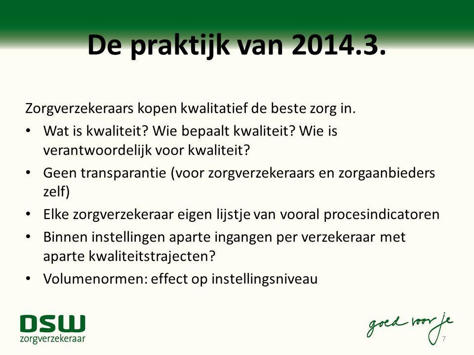 De praktijk van 2014.3. Zorgverzekeraars kopen kwalitatief de beste zorg in. Wat is kwaliteit? Wie bepaalt kwaliteit? Wie is verantwoordelijk voor kwa