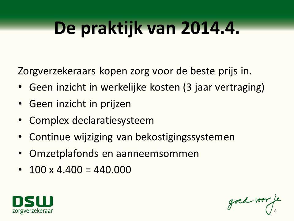 De praktijk van 2014.4. Zorgverzekeraars kopen zorg voor de beste prijs in. Geen inzicht in werkelijke kosten (3 jaar vertraging) Geen inzicht in prij