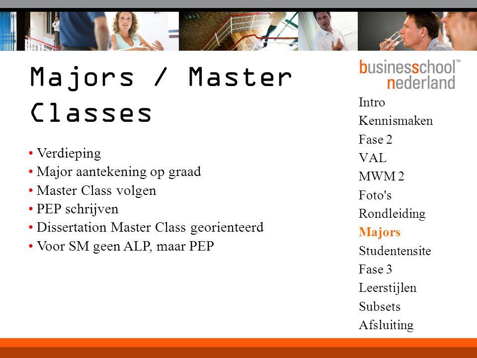 Intro Kennismaken Fase 2 VAL MWM 2 Foto's Rondleiding Majors Studentensite Fase 3 Leerstijlen Subsets Afsluiting Majors / Master Classes Verdieping Ma
