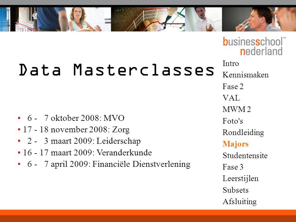 Intro Kennismaken Fase 2 VAL MWM 2 Foto's Rondleiding Majors Studentensite Fase 3 Leerstijlen Subsets Afsluiting Data Masterclasses 6 - 7 oktober 2008