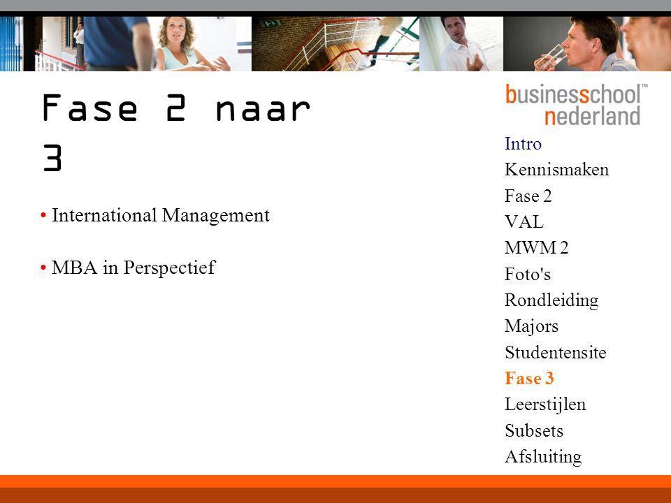 Intro Kennismaken Fase 2 VAL MWM 2 Foto's Rondleiding Majors Studentensite Fase 3 Leerstijlen Subsets Afsluiting Fase 2 naar 3 International Managemen