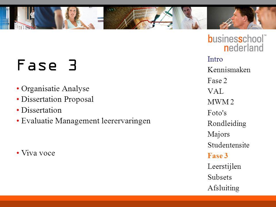 Intro Kennismaken Fase 2 VAL MWM 2 Foto's Rondleiding Majors Studentensite Fase 3 Leerstijlen Subsets Afsluiting Fase 3 Organisatie Analyse Dissertati