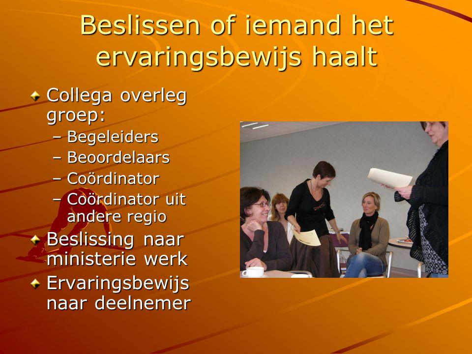 Praktische informatie www.ervaringsbewijs.be www.vcok.be/testcentrum Aanvraagformulier tot inschrijving Contactpersoon voor Oost Vlaanderen: Ellie Kuipers – 0474/29 05 62 Startbijeenkomsten: 5 november Gent 19 november Sint Niklaas 28 januari Oudenaarde