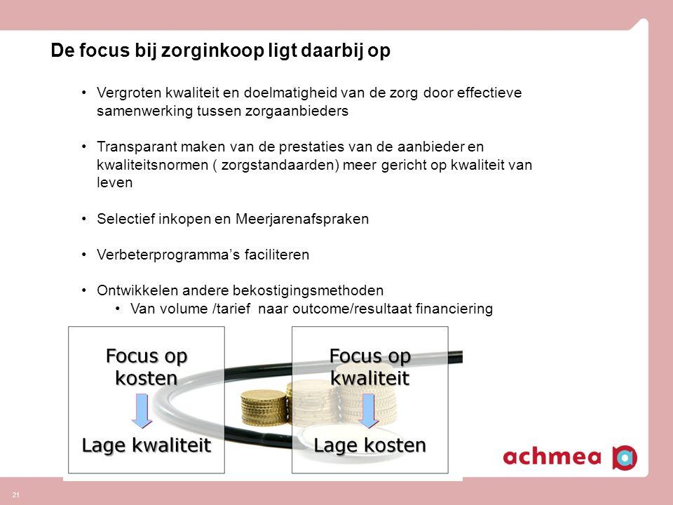 21 De focus bij zorginkoop ligt daarbij op Vergroten kwaliteit en doelmatigheid van de zorg door effectieve samenwerking tussen zorgaanbieders Transpa