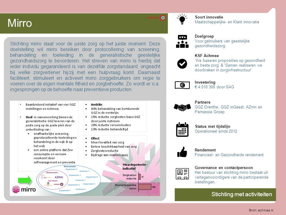 Mirro Stichting mirro staat voor de juiste zorg op het juiste moment. Deze doelstelling wil mirro bereiken door protocollering van screening, behandel