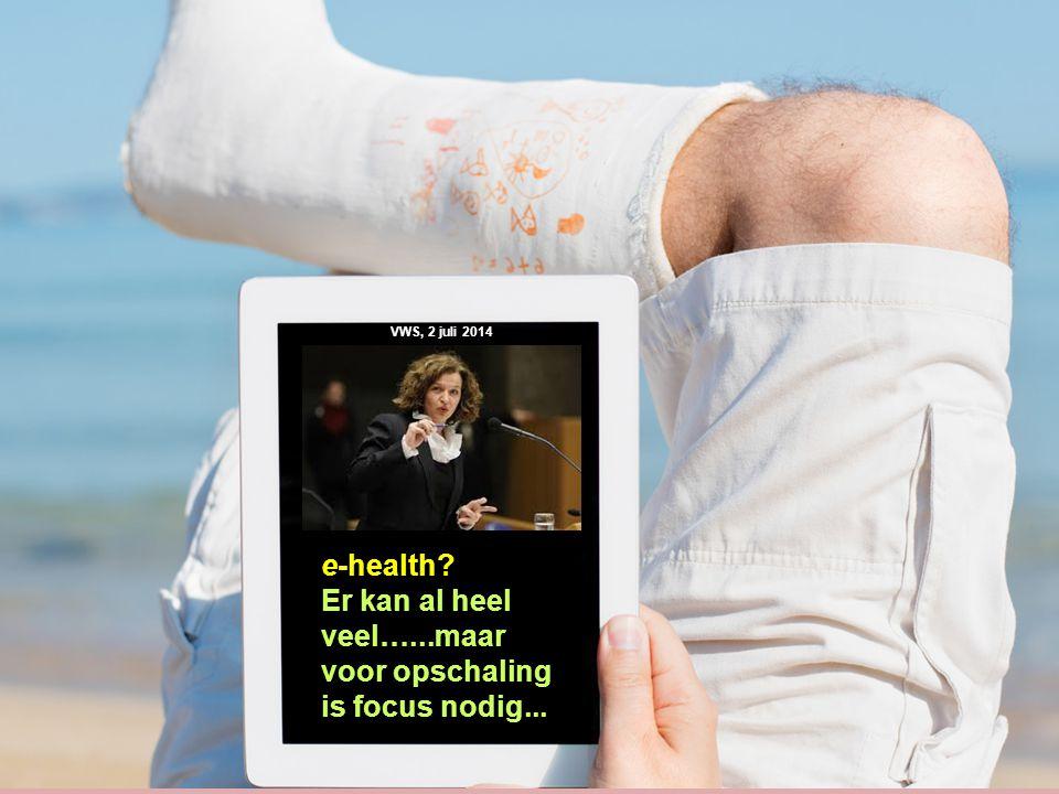 30 e-health? Er kan al heel veel…...maar voor opschaling is focus nodig... VWS, 2 juli 2014
