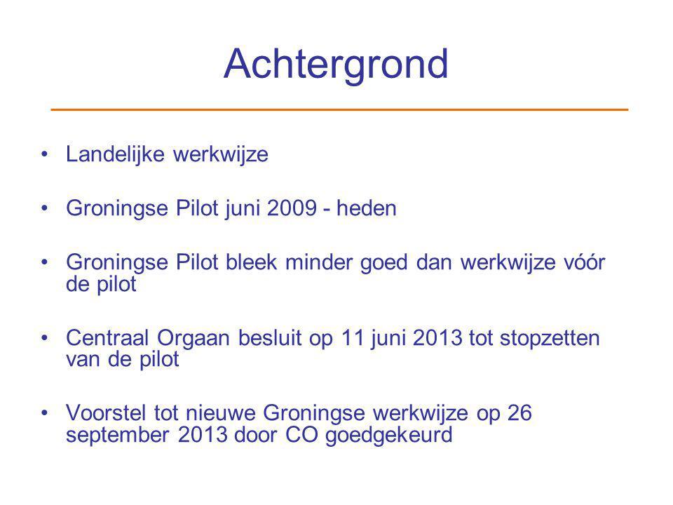Achtergrond Landelijke werkwijze Groningse Pilot juni 2009 - heden Groningse Pilot bleek minder goed dan werkwijze vóór de pilot Centraal Orgaan beslu