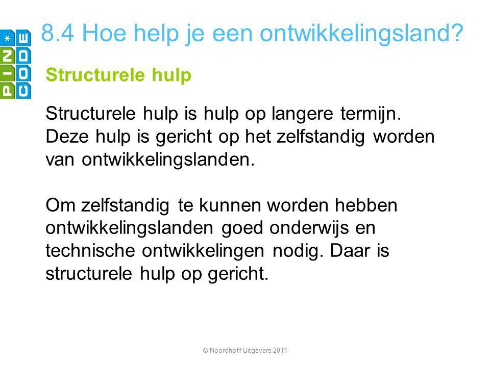 8.4 Hoe help je een ontwikkelingsland? Structurele hulp Structurele hulp is hulp op langere termijn. Deze hulp is gericht op het zelfstandig worden va