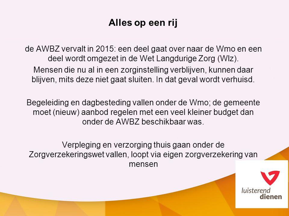 Alles op een rij de AWBZ vervalt in 2015: een deel gaat over naar de Wmo en een deel wordt omgezet in de Wet Langdurige Zorg (Wlz). Mensen die nu al i