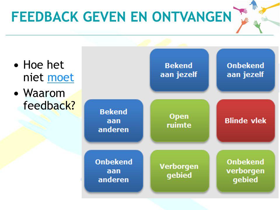 Hoe het niet moetmoet Waarom feedback? FEEDBACK GEVEN EN ONTVANGEN