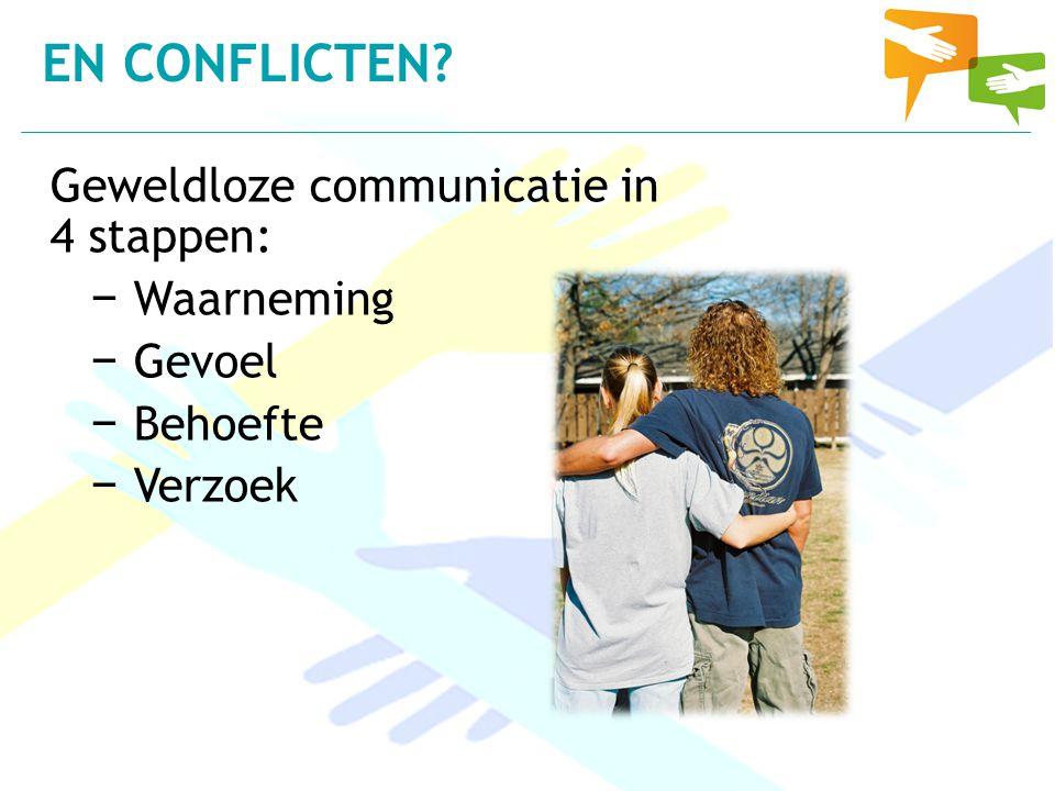 Geweldloze communicatie in 4 stappen: − Waarneming − Gevoel − Behoefte − Verzoek EN CONFLICTEN?