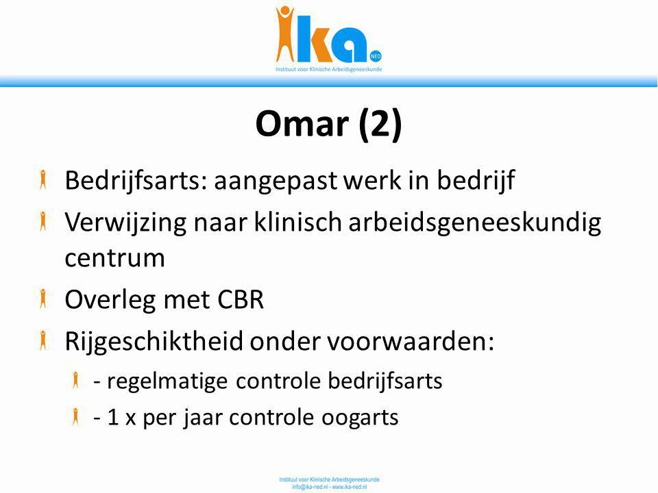 Omar (2) Bedrijfsarts: aangepast werk in bedrijf Verwijzing naar klinisch arbeidsgeneeskundig centrum Overleg met CBR Rijgeschiktheid onder voorwaarde