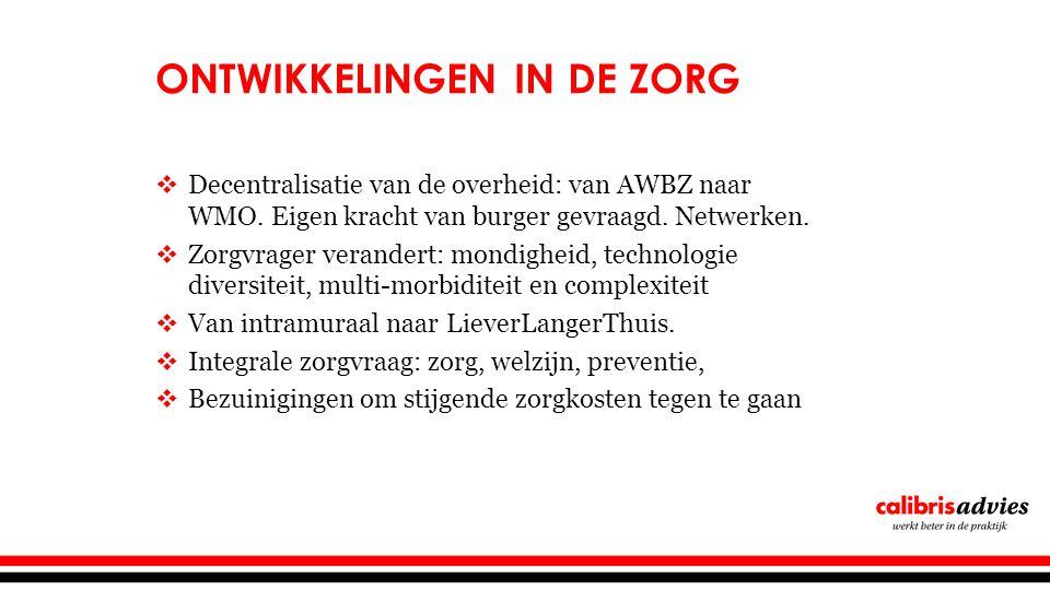 ONTWIKKELINGEN IN DE ZORG  Decentralisatie van de overheid: van AWBZ naar WMO.