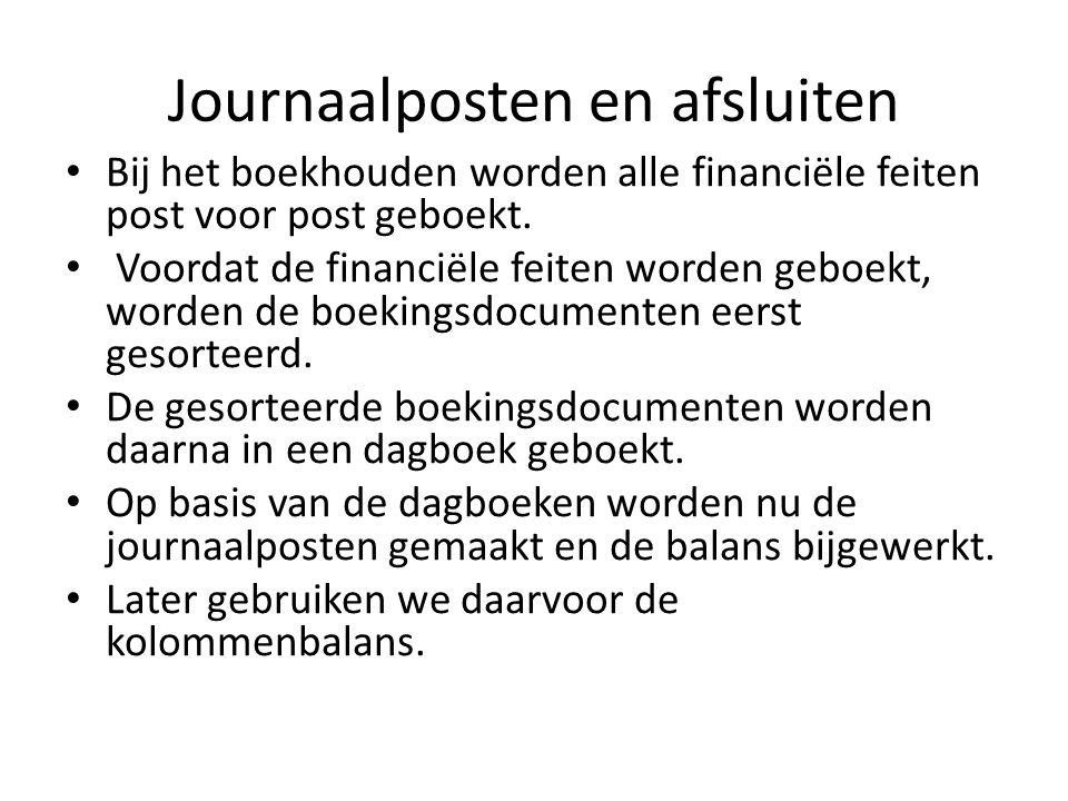 Journaalposten en afsluiten Bij het boekhouden worden alle financiële feiten post voor post geboekt.