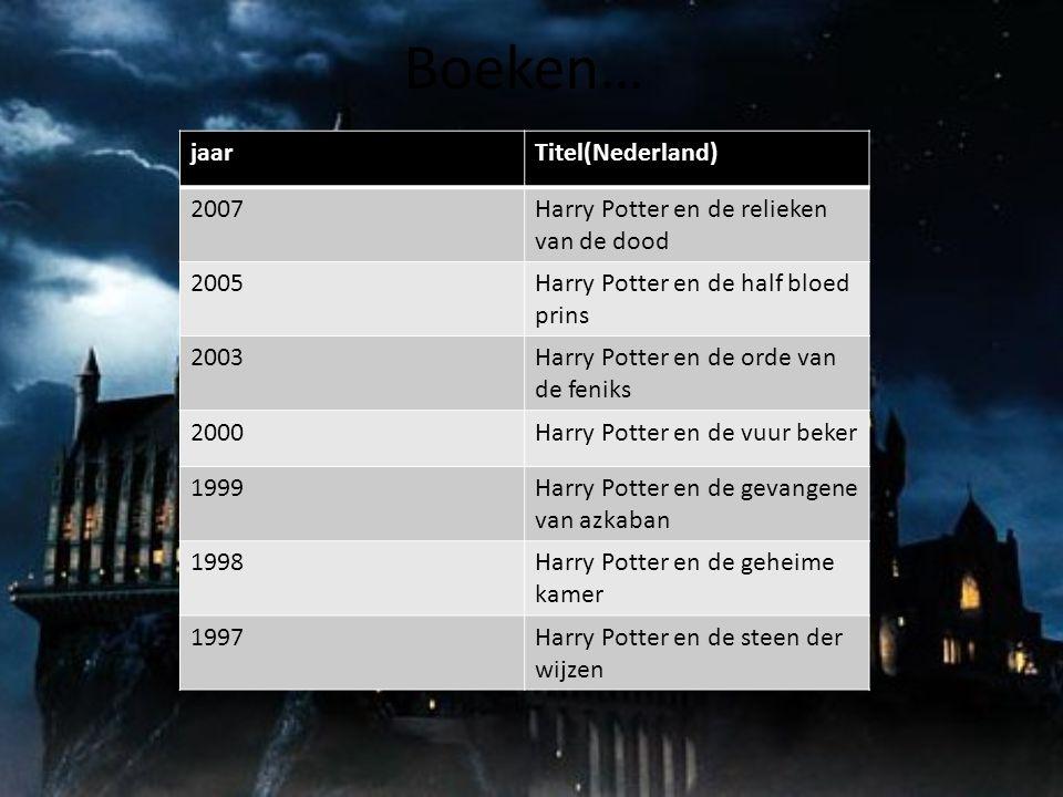 Boeken… jaarTitel(Nederland) 2007Harry Potter en de relieken van de dood 2005Harry Potter en de half bloed prins 2003Harry Potter en de orde van de fe