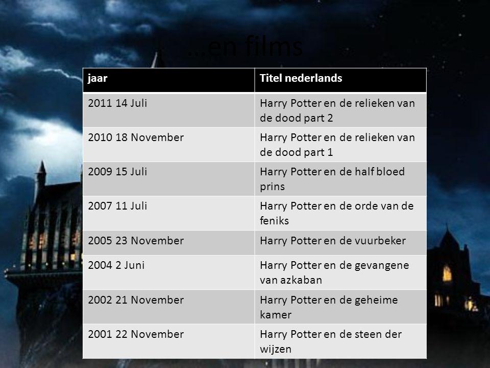 …en films jaarTitel nederlands 2011 14 JuliHarry Potter en de relieken van de dood part 2 2010 18 NovemberHarry Potter en de relieken van de dood part