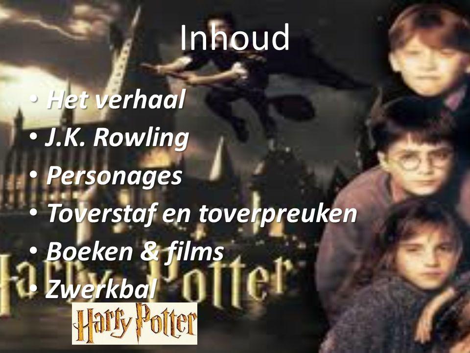 Inhoud Het verhaal Het verhaal J.K. Rowling J.K. Rowling Personages Personages Toverstaf en toverpreuken Toverstaf en toverpreuken Boeken & films Boek