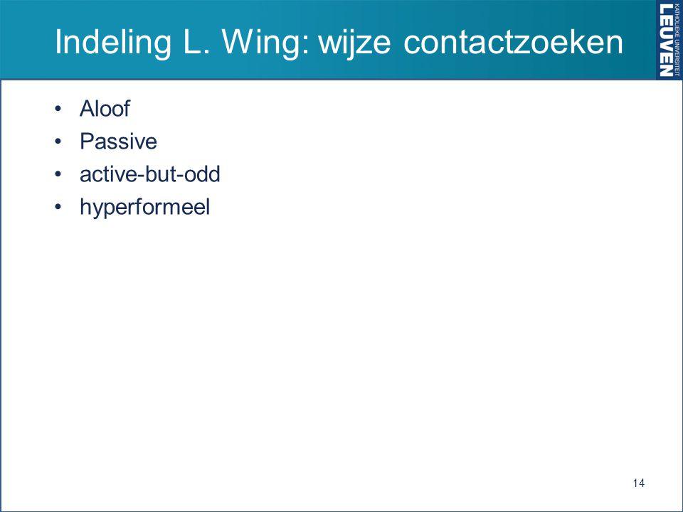 Indeling L. Wing: wijze contactzoeken Aloof Passive active-but-odd hyperformeel 14