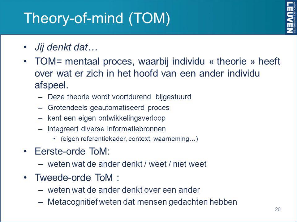 Theory-of-mind (TOM) Jij denkt dat… TOM= mentaal proces, waarbij individu « theorie » heeft over wat er zich in het hoofd van een ander individu afspe