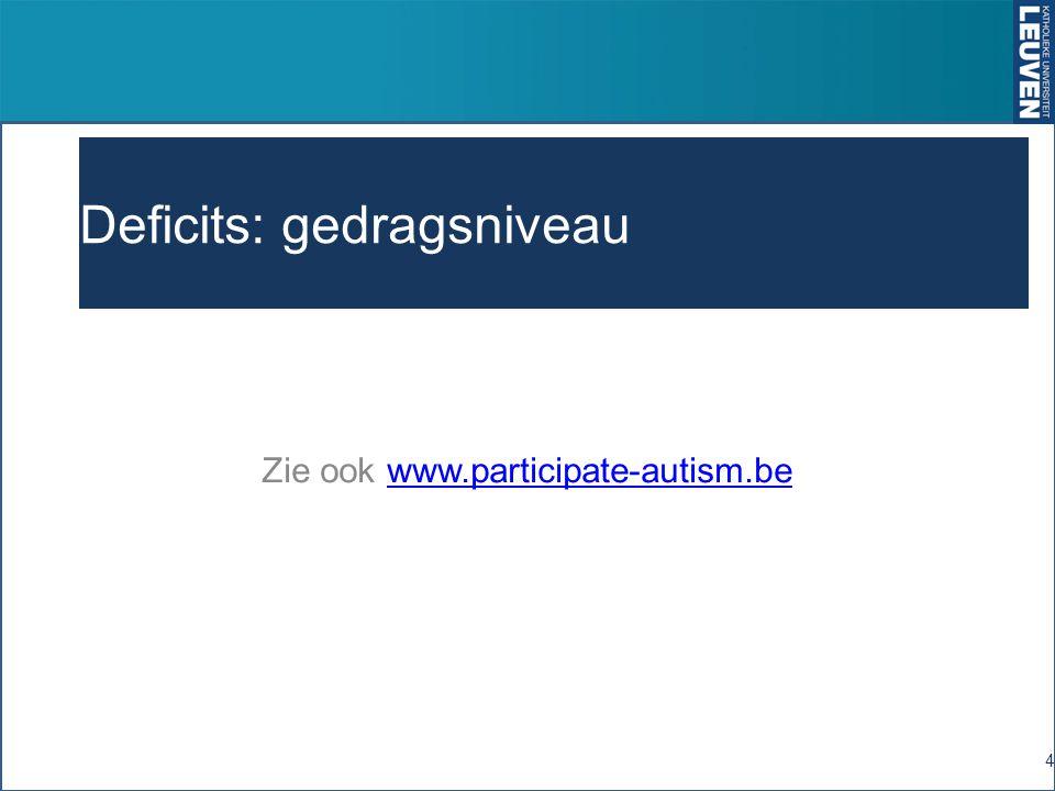 Deficits: gedragsniveau Zie ook www.participate-autism.bewww.participate-autism.be 4
