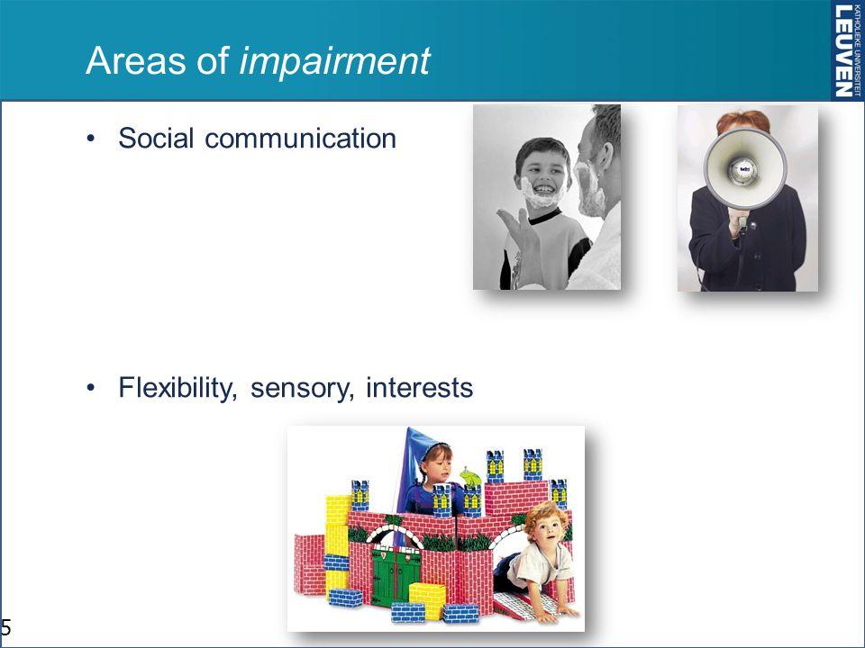 Stoornissen in sociale communicatie Begint erg vroeg in de ontwikkeling: zuigeling, peuter Verstoorde ontwikkeling van sociale glimlach, Joint Attention, reactie op aangesproken worden, anticiperen,, wederkerig oogcontact, beurtrol nemen, Tekorten in sociale activiteiten, delen van plezier of andere emoties, sociaal perspectief nemen, Verstoorde ontwikkeling van empathie –(noot: « sympathie » kan normaal redelijk goed zijn) 6 Sociaal contact