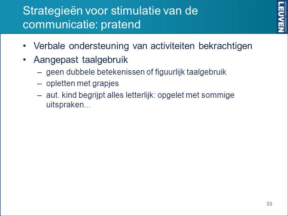 Strategieën voor stimulatie van de communicatie: pratend Verbale ondersteuning van activiteiten bekrachtigen Aangepast taalgebruik –geen dubbele betek