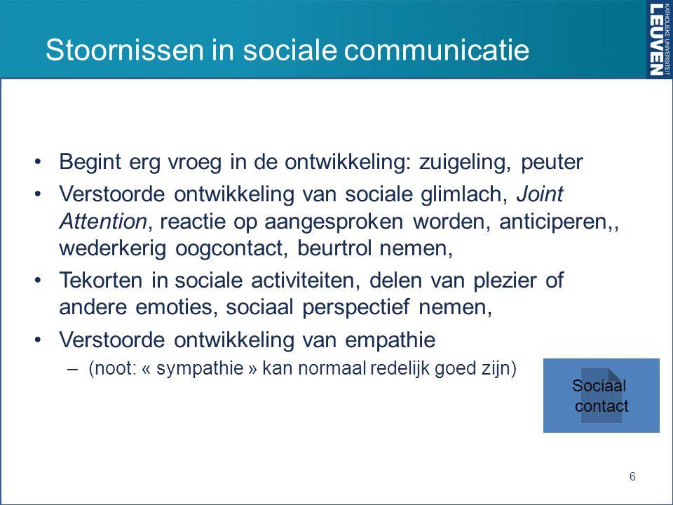 Stoornissen in sociale communicatie Begint erg vroeg in de ontwikkeling: zuigeling, peuter Verstoorde ontwikkeling van sociale glimlach, Joint Attenti