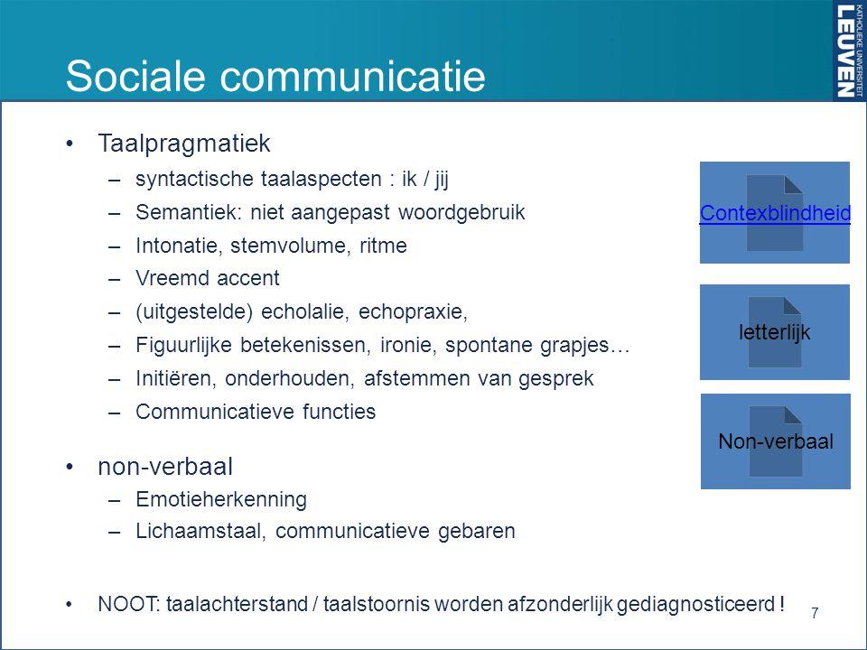 Sociale communicatie Taalpragmatiek –syntactische taalaspecten : ik / jij –Semantiek: niet aangepast woordgebruik –Intonatie, stemvolume, ritme –Vreem
