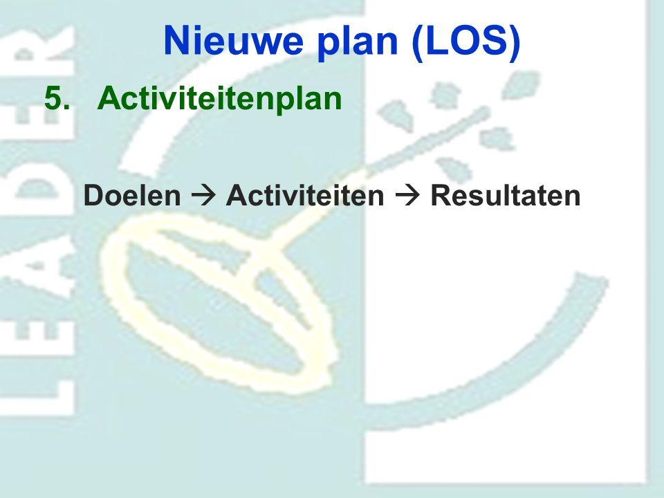 Nieuwe plan (LOS) 5.Activiteitenplan Doelen  Activiteiten  Resultaten