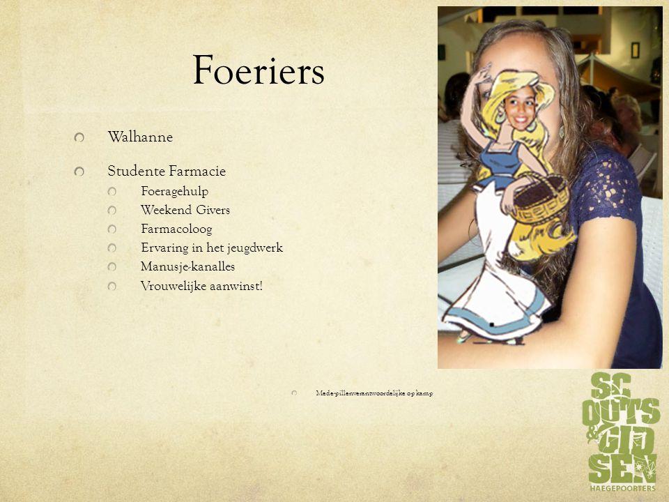 Foeriers Walhanne Studente Farmacie Foeragehulp Weekend Givers Farmacoloog Ervaring in het jeugdwerk Manusje-kanalles Vrouwelijke aanwinst.