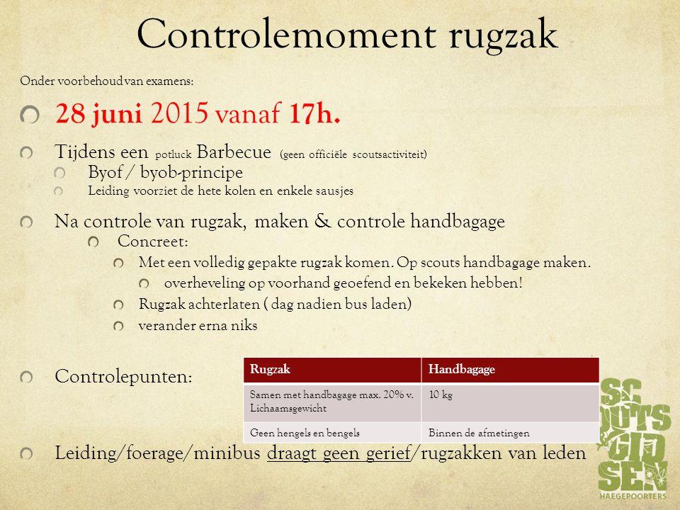 Controlemoment rugzak Onder voorbehoud van examens: 28 juni 2015 vanaf 17h.