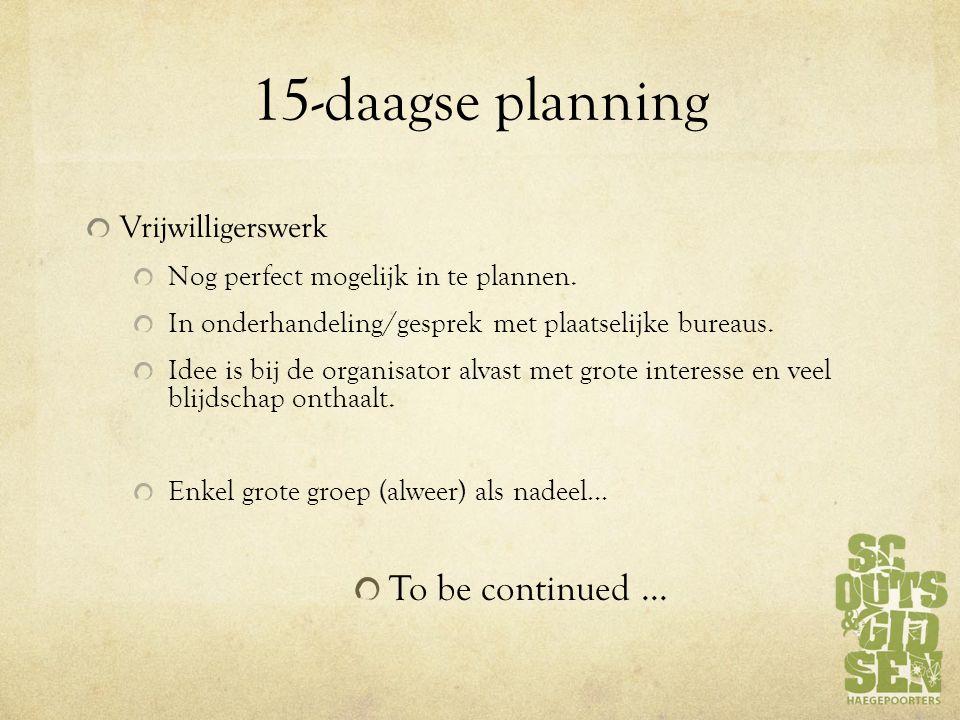 15-daagse planning Vrijwilligerswerk Nog perfect mogelijk in te plannen.