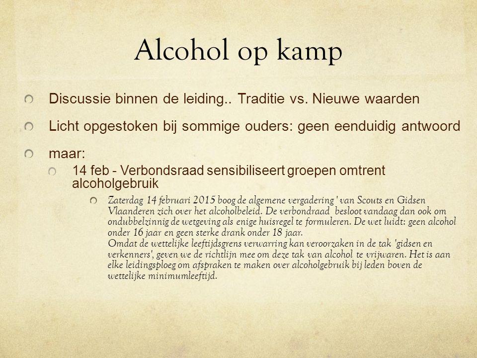Alcohol op kamp Discussie binnen de leiding..Traditie vs.